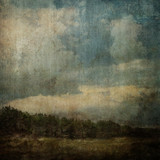 Vintage Stained Landscape Canvas Background XXL