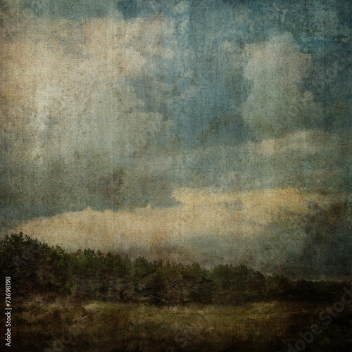 Foto op Canvas Landschappen Vintage Stained Landscape Canvas Background XXL