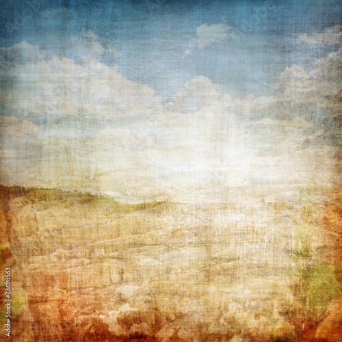Leinwandbild Motiv Vintage Landscape Fabric Background