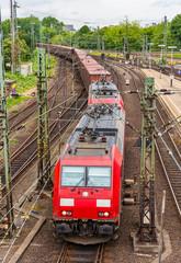 Freight train in Hamburg Hauptbahnhof station - Germany