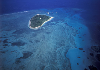 aerial of Green island off the queensland coast.