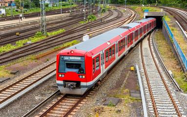 S-Bahn train in Hamburg Hauptbahnhof station - Germany