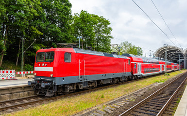 A regional express train in Kiel Central Station - Germany