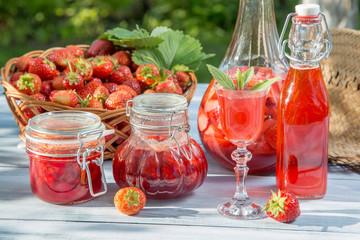 Various preparations of strawberries