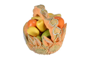 Fruit basket made from hands carved pumpkin