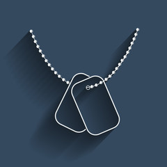Contour white dogtags in flat design. Vector.