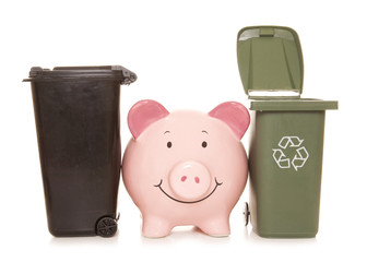 piggybank with trash cans