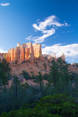 Bryce rock formations in late sunshine