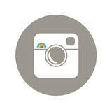Hipster Photo Icon with Rainbow Sign - 73699720