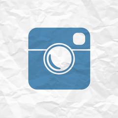 Hipster Photo Icon on Crumpled Paper Texture
