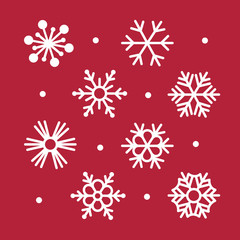 Simple Snowflakes Collection on Red