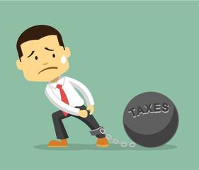 Businessman and tax burden. Vector flat illustration