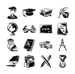 Education black icons set