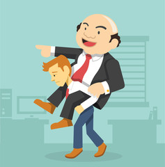 Businessman carrying boss. Vector flat illustration