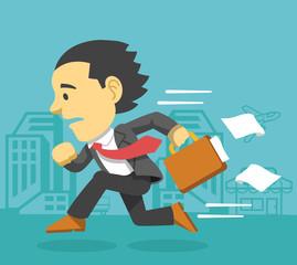 Businessman runs. Vector flat illustration