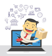 Electronic commerce. Vector illustration and icons