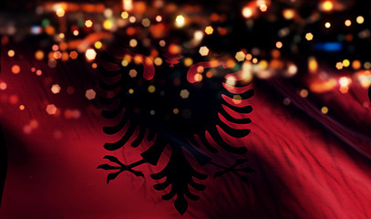 Albania National Flag Light Night Bokeh Abstract Background