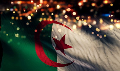 Algeria National Flag Light Night Bokeh Abstract Background