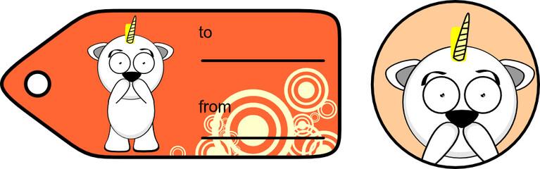 funny unicorn cartoon sticker gift card set1