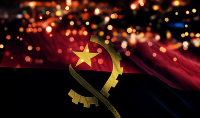 Angola National Flag Light Night Bokeh Abstract Background
