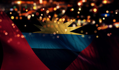 Antigua and Barbuda National Flag Light Night Bokeh Abstract