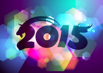 2015 new year design with goat and bokeh.