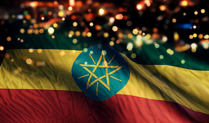 Ethiopia National Flag Light Night Bokeh Abstract Background