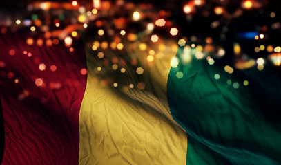 Guinea National Flag Light Night Bokeh Abstract Background