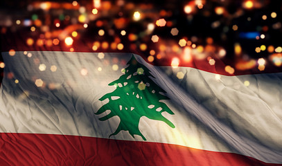 Lebanon National Flag Light Night Bokeh Abstract Background