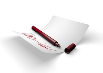 Penna rossa, firma e foglio di carta