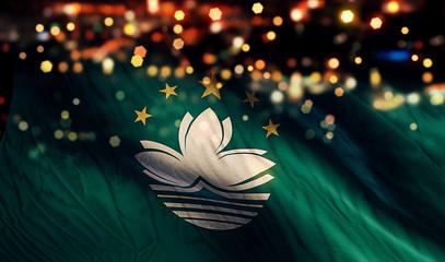 Macau National Flag Light Night Bokeh Abstract Background