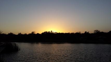 Cloudless Lake sunset