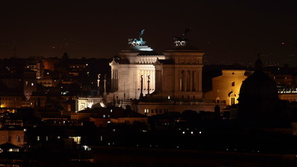 time lapse Altar of the Fatherland at Night, Rome, Italy