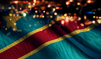 Democratic Republic of the Congo National Flag Night Abstract