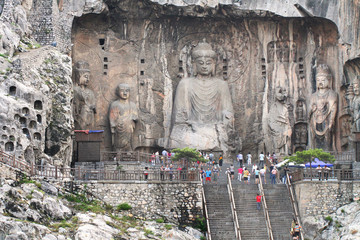 Longmen Grottoes with Buddha's figures in Luoyang, China.