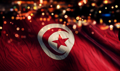 Tunisia National Flag Light Night Bokeh Abstract Background