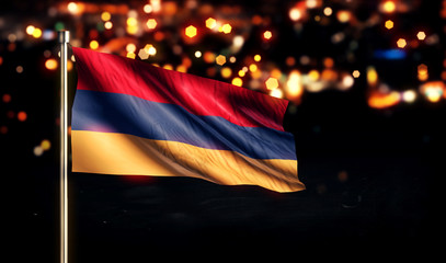 Armenia National Flag City Light Night Bokeh Background 3D
