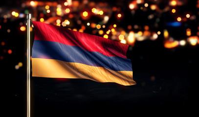 Armenia National Flag City Light Night Bokeh Background 3D