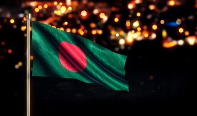 Bangladesh National Flag City Light Night Bokeh Background 3D