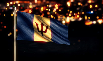 Barbados National Flag City Light Night Bokeh Background 3D