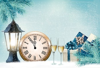 Holiday retro background with champagne glasses and clock .