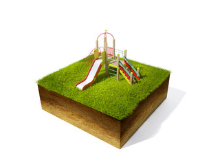 3d illustration of cross section of ground with grass isolated o