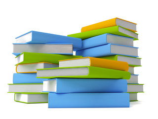 Row of colorful books isolated on white
