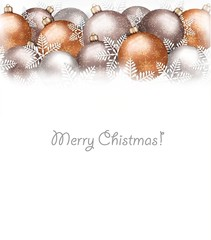 Christmas balls and snowflake on holiday background. Vector.