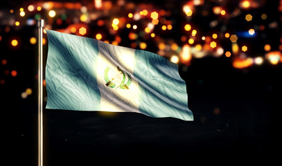 Guatemala National Flag City Light Night Bokeh Background 3D
