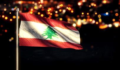 Lebanon National Flag City Light Night Bokeh Background 3D