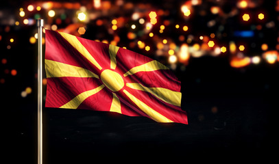 Republic of Macedonia National Flag City Light Night Boke 3D