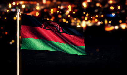 Malawi National Flag City Light Night Bokeh Background 3D