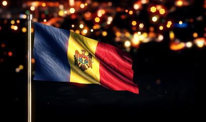 Moldova National Flag City Light Night Bokeh Background 3D