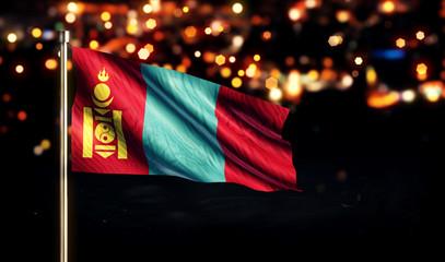 Mongolia National Flag City Light Night Bokeh Background 3D